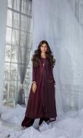 3 Piece Shirt - Pure Russian Raw Silk with Dori thread & Stone Embroidery Trouser - Pure Velvet Embroidered Pure Chiffon Dupatta