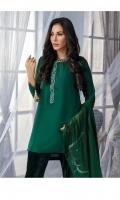 3 Piece Shirt - Pure Russian Raw Silk with Dori thread & Stone Embroidery Trouser - Pure Velvet Pure Chiffon Dupatta