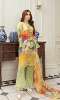 Embroidered Chikankari Viscose Chiffon Dupatta Plain Trouser