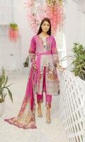 Embroidered Lawn Chikenkari Chiffon Dupata Plain Trouser