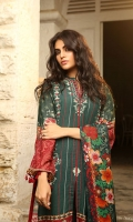 Dupatta: Woolen Shawl, 2.5 Meters Shirt Front: Dyed Emb, 1.25 Meters Shirt Back: Printed, 1.25 Meters Sleeves: Printed, 01 Pair Trouser: Dyed, 2.5 Meters Border: Printed, 01 Pieces