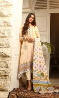 Dupatta: Woolen Shawl, 2.5 Meters Shirt Front: Printed Emb, 1.25 Meters Shirt Back: Printed, 1.25 Meters Sleeves: Printed, 01 Pair Trouser: Dyed, 2.5 Meters