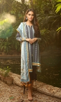 Dupatta: Woolen Shawl, 2.5 Meters Shirt Front: Dyed Emb, 1.25 Meters Shirt Back: Printed, 1.25 Meters Sleeves: Dyed Emb, 01 Pair Trouser: Dyed, 2.5 Meters Sleeves Border: Printed, 01 Piece