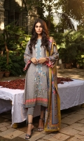 Dupatta: Woolen Shawl, 2.5 Meters Shirt Front: Printed Emb, 1.25 Meters Shirt Back: Printed, 1.25 Meters Sleeves: Printed Emb, 01 Pair Trouser: Dyed, 2.5 Meters