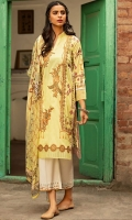 Digital Printed Front Digital Printed Back Digital Printed Sleeves Digital Printed Chiffon Dupatta Dyed Cotton Trouser Embroidered Front Motives (4 Pieces ) Embroidered Border Embroidered Front Laces (90 Inches)