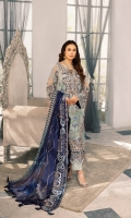Embroidered With Hand embellished Chiffon Front 0.8 MTREmbroidered Chiffon Back 0.8 MTREmbroidered Chiffon Sleeves 0.66 MTR Embroidered Chiffon Dupatta 2.5 Yard Embroidered Raw silk Trouser 2.5 Yard Embroidered...
