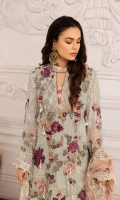 Embroidered Chiffon Front 0.8 MTREmbroidered Chiffon Back 0.8 MTREmbroidered Chiffon Sleeves 0.66 MTR Embroidered Chiffon Dupatta 2.5 Yard Dyed Raw silk Trouser 2.5 Yard Embroidered Border For Front...