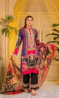 Digital Printed and Embroidered Suvic Lawn Front Digital Printed Suvic Lawn Back Digital Printed Suvic Lawn Sleeves Digital Printed Chiffon Dupatta Dyed Cotton Trouser With Embroidered Border