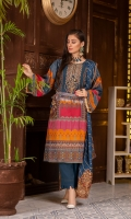 Digital Printed Swiss Front Digital Printed Swiss Back Embroidered Neck Patch Embroidered Net Dupatta Dyes Cotton Trouser