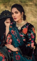 Velvet Embroidered front 0.8MtrVelvet Embroidered back 0.8MtrVelvet Embroidered sleeves 0.66MtrVelvet Embroidered front & back border 1.5MtrOrganza Embroidered motif trouser 2PcsNet Embroidered dupatta 2.5YardRaw silk trouser 2.5Yard ACCESSORIES ARE...