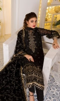 Embroidered Chiffon FrontEmbroidered Chiffon BackEmbroidered Chiffon Sleeves Embroidered Velvet ShawlRaw Silk Trouser