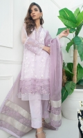 Pure embroidered net fabric with thread embroidery. Accentuated with laces and organza trimmings. Real crystals and pearl hand embroidery gives an elegant look to this outfit. A three color dupatta with gotta work can be added to this outfit.
