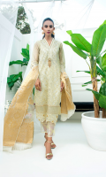 Pure self zari and embroidery organza fabric with gotta handwork of crystals and mirror work gives this outfit a perfect ensemble for any formal occasion. Dupatta as is can be added.