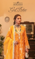 Front: (1 meter) embroidered lawn. Back: (1 meter) self-textured lawn. Front/Back border: (2 meter) embroidered organza Neckline: (1.5) yard embroidered organza Sleeves: (0.75 meter) embroidered lawn Sleeves border: (1 meter) embroidered organza Trouser: (2.5 meter) cotton. Dupatta: (2.5 yards) embroidered organza