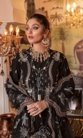 Front:  (1 meter) embroidered lawn. Back:  (1 meter) self-textured lawn. Front/Back border: (2 meter) embroidered organza. Front 3D motifs: (16 pieces) Sleeves: (0.75 meter) embroidered lawn Sleeves border 1: (1 meter) embroidered organza Sleeves border 2: (1 meter) embroidered organza Trouser: (2.5 meter) cotton. Dupatta: (2.5yards) embroidered net