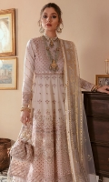 Front body: (26 inches) embroidered lawn. Back body: (26 inches) embroidered lawn. Front/back body border: (2 meter) embroidered organza Front kali: (7 pieces) embroidered lawn Back kali: (2.25meter) embroidered lawn Sleeves: (0.75 meter) embroidered lawn Sleeves border: (1 meter) embroidered organza Front/Back border: (4.5 meter) embroidered organza. Trouser: (2.5 meter) cotton. Dupatta: (2.5 meter) foil printed net