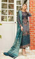 Front: 1 meter crinkle chiffon embroided  Back: 1 meter crinkle chiffon embroided  Sleeves: 0.75 meter crinkle chiffon embroided  Front/ Back border: 2 meter organza embroided  Front/ Back patch: 2 meter organza embroided  Sleeves border: 1 meter organza embroided  Dupatta: 2.5 meter Jamawar  Trouser: 2.5 meter grip
