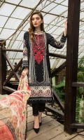 Shirt: 3 meter Lawn Neck Patch: 1 on Tissue Dupatta: 2.5 meter Bamber Chiffon Trouser: 2.5 meter Lawn