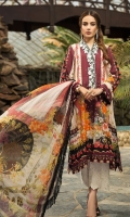 Shirt: 3 meter Lawn Neck Patch: 1 on Tissue Trouser Patch: 1.25 meter on Tissue Dupatta: 2.5 meter Bamber Chiffon Trouser: 2.5 meter Lawn