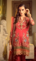 Embroidered Chiffon Front Embroidered Chiffon Back Embroidered Raw Silk Front and Back Hem (Border) (Orange) Embroidered Raw Silk Front and Back Hem (Border) (Green) Embroidered Chiffon Sleeves Embroidered Organza Sleeve Patch Raw Silk Pants Embroidered Net Dupatta Embroidered Raw Silk Dupatta Pallu Patch (Maroon) Embroidered Raw Silk Dupatta Pallu Patch (Orange) Embroidered Raw Silk Dupatta Length Border (Maroon)