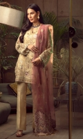 Embroidered Chiffon Front Embroidered Chiffon Back Embroidered Organza Front and Back Hem (Border) Embroidered Organza Neckline Finishing Embroidered Chiffon Sleeves Embroidered Organza Sleeve Patch Raw Silk Pants Embroidered Net Dupatta Embroidered Raw Silk Dupatta Pallu Patch (Light Purple)