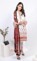 EMBROIDERED LAWN FRONT (1.25m) EMBROIDERED LAWN BACK (1.25m) EMBROIDERED ORGANZA FRONT BORDER (0.85m) EMBROIDERED ORGANZA NECKLINE FINISHING (01 Piece) EMBROIDERED LAWN SLEEVES (0.60m) EMBROIDERED ORGANZA SLEEVES PATCH (0.85m) COTTON PANTS (2.5m) DIGITAL PRINT CHIFFON DUPATTA (2.5m)