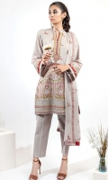 EMBROIDERED LAWN FRONT WITH BORING (1.25m) EMBROIDERED LAWN BACK (1.25m) EMBROIDERED ORGANZA FRONT BORDER WITH BORING (0.85m) EMBROIDERED ORGANZA NECKLINE PATCH (01 Piece) EMBROIDERED LAWN SLEEVES WITH BORING (0.60m) EMBROIDERED ORGANZA SLEEVES PATCH WITH BORING (0.85m) COTTON PANTS (2.5m) EMBROIDERED CHIFFON DUPATTA (2.5m)