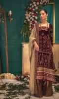 Embroidered Velvet Front Embroidered Velvet Back Embroidered Raw Silk Front and Back Hem (Border) Embroidered Velvet Sleeves Embroidered Raw Silk Sleeve Patch Silk Brocade (Jamawaar) Pants Metallic Tulle (Zarri Net) Dupatta Embroidered Raw Silk Dupatta Patch