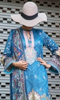 3.0 meter embroidered lawn shirt  2.5 meter trouser 2.5 meter crinkle chifofn dupatta
