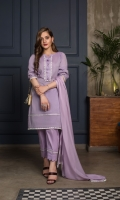 Be the diva you always wanted to be with our aromatic lavender kurta. A straight fit shirt complemented with tussels and intricate white sequence lace on the front. Box-pleated sleeves with tiny tussels. And detailed border to add extra beauty. A dignified straight trouser with scallop designs. A lavender silky chiffon dupatta with respective tussels lace finish.