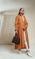 Tangerine full length coat with panels, straight collar. Detailed with side gathers along with pocket flaps, structured tulip cuffed sleeved and wooden buttons.