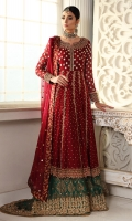 A Crimson red cotton net peshwas with antique heavy dapka work. Heavily embellished front and back and sleeves. Pair it up with a beautifully worked trousers and a Chiffon dupatta with gota and sequins spray.
