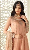 Bridal rose anarkali highlighted with dabka, gota work and beautiful heavy sleeves. Pair it up with apricot coloured sharara or plain pants and beautiful pink kamdani dupatta with borders all around. Perfect for a day time engagement or nikah.