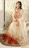 Pearly white jamawar pishwas with heavy neckline adorned with lace borders, heavy gota and sequins spray. Beautiful jamawar lehnga with borders and rust kamdani dupatta with borders. Perfect for nikah and engagement functions.
