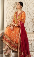 Dusty orange embroidered angarkha intricately highlighted with gota. Paired with red plum chiffon block print dupatta and jamawar pants.