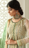 Pale blue net peshwas beautifully embroidered front, back, sleeves and a gota worked bodice. It is paired with our signature pants and cameo green heavy embroidered dupatta.