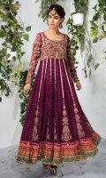 Redefine your style in this traditional and versatile ensemble. Exquisite detailing radiates elegance in this stunning purple pishwas. *Shirt Length: 52