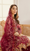 """Net embroidered hand embellished front 1 yard Net embroidered hand embellished sleeves 26"""" Net embroidered back 1 yard Tissue embroidered hand embellished sleeves border 1 yard Tissue embroidered back border 1 yard Net embroidered dupatta 2.5 yards Net embroidered lehnga 104"""" Russian grip trouser 2.5 yards"""