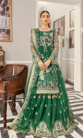 """Net embroidered hand embellished front 1 yard Net embroidered back 1 yard Tissue embroidered hand embellished front border 1 yard Tissue embroidered back border 1 yard Net embroidered hand embellished sleeves 26"""" Net embroidered lenhga 104"""" Net embroidered dupatta 2.5 yards Russian grip trouser 2.5 yards"""