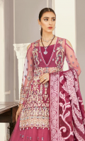 """Net embroidered hand embellished front 1 yard Net embroidered back 1 yard Net embroidered hand embellished sleeves 26"""" Net embroidered lenhga 12 panels Jamawar bnarsi shawl 2.5 yards Russian grip trouser 2.5 yards"""