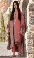 Shirt: Embroidered Karandi Shirt 3.12 Meters Fabric: Karandi  Dupatta: Karandi Dupatta Fabric: Karandi  Trouser: Dyed Karandi Trouser Fabric: Karandi