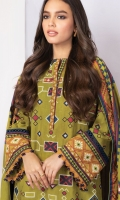 Shirt: Light Khaddar Shirt 3 Meters Fabric: Khaddar  Dupatta: Light Khaddar Dupatta Fabric: Khaddar  Trouser: Dyed Khaddar Trouser Fabric: Khaddar