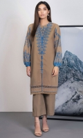 Shirt: Printed Karandi Shirt 3.12 Meters Fabric: Karandi  Trouser: Dyed Karandi Trouser Fabric: Karandi