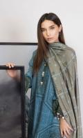 Shirt: Printed Khaddar Shirt 3.12 Meters Fabric: Khaddar  Shawl: Printed Shawl  Trouser: Dyed Khaddar Trouser Fabric: Khaddar