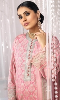 Chiffon Dust Dupatta Printed Cotton Silk Shirt 3 Meters Front Daman Embroidered On Fabric 2.5Meter Embroidery Border On Pink Organza Dyed Cambric Trouser