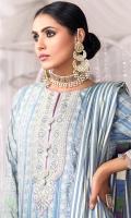Printed Cotton Silk Dupatta Printed Cotton Zari Shirt 3.12 Meters Neckline Embroidered On Organza 1Meter Embroidered Border On Organza