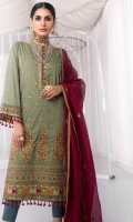 Embroidered Net Dupatta With Printed Border Embroidered Shirt Front 1.25 Meters Printed Cotton Zarri Shirt Back/Sleeves 1.92 Meters Separate Printed Borders For Shirt Back/Sleeves 2Meters Embroidery Border On Organza Dyed Cambric Trouser