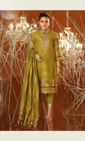 Jacquard woven dupatta Jacquard woven shirt 3.12 meters Dyed cambric pant Neck embroidery on organza 1 Border embroidery on organza 28inch+28inch+1mtr
