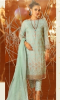 Jacquard net dupatta with embroidery Printed cotton zari shirt 3.12 meters Dyed cambric pants Daman embroidery on fabric Sleeve embroidery on fabric 1 Border embroidery on peach organza 2.5 mtr