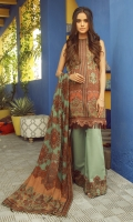 Printed Net Dupatta Printed Lawn Shirt Sleeves 3.12 Meters Dyed Cambric Trouser